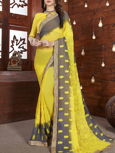 thread embroidered lace saree with blouse - 15416799 - Standard Image - 1
