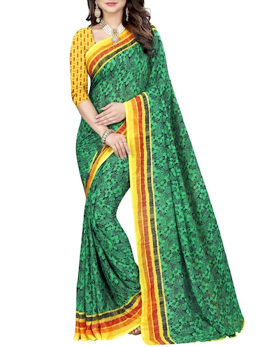 contrast border floral georgette saree with blouse - 15416809 - Standard Image - 1