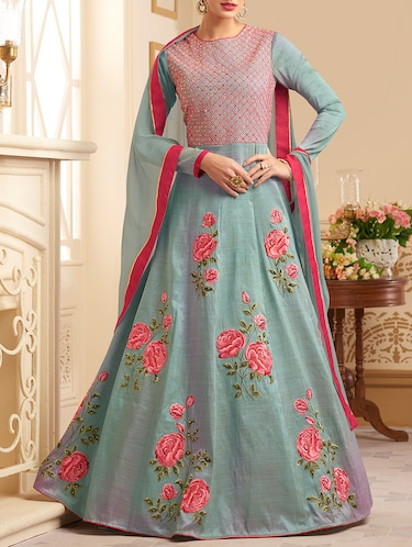 floral embroidered semi-stitched anarkali suits - 15416829 - Standard Image - 1