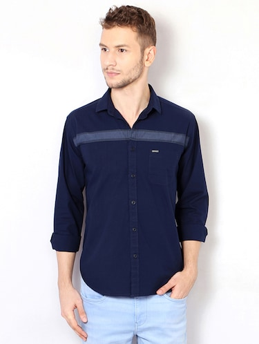 navy blue cotton casual shirt - 15417069 - Standard Image - 1