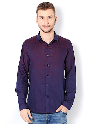 purple cotton casual shirt - 15417071 - Standard Image - 1