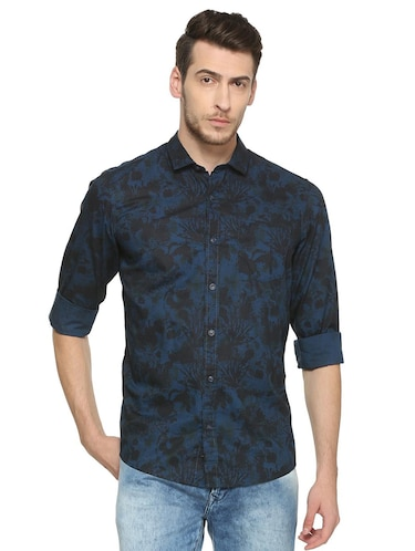 blue cotton casual shirt - 15417096 - Standard Image - 1