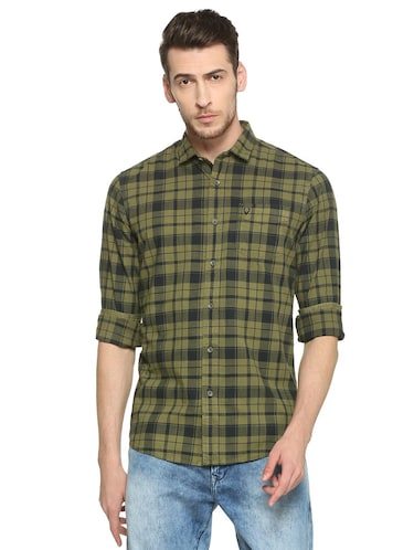 green cotton casual shirt - 15417097 - Standard Image - 1