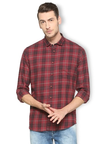 red cotton casual shirt - 15417100 - Standard Image - 1