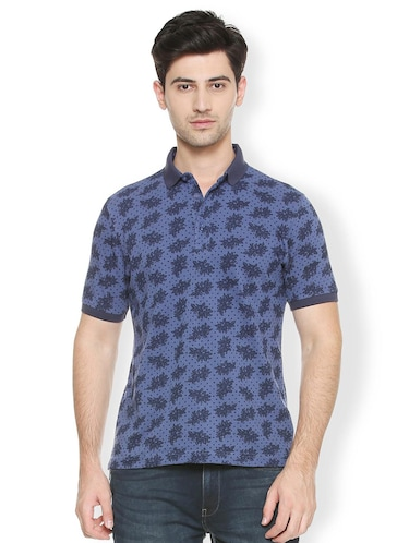 blue cotton all over print t-shirt - 15417224 - Standard Image - 1
