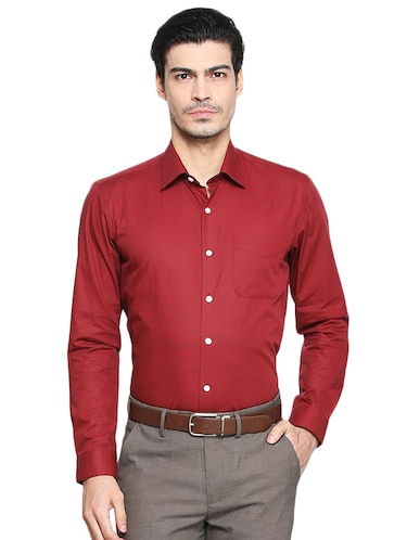 red cotton formal shirt - 15417416 - Standard Image - 1