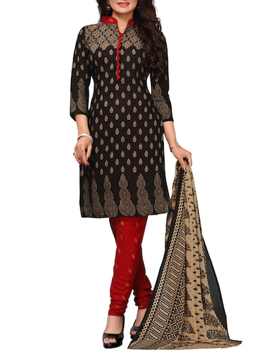 Printed unstitched churidaar suit - 15417452 - Standard Image - 1