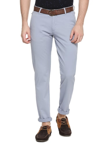 grey cotton blend chinos casual trouser - 15417466 - Standard Image - 1