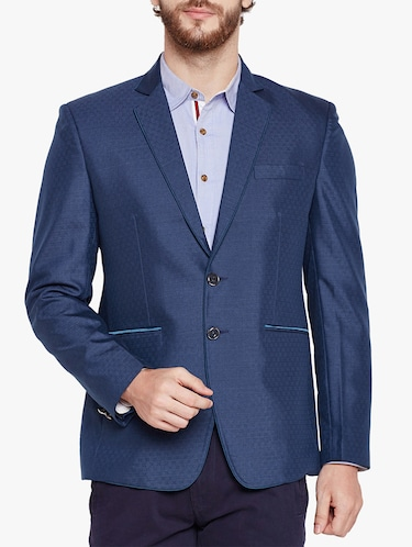 blue cotton blend casual blazer - 15417718 - Standard Image - 1