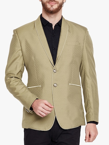 beige cotton blend casual blazer - 15417732 - Standard Image - 1