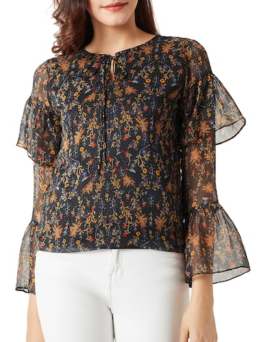 tie-up neck bell sleeved floral top - 15419077 - Standard Image - 1