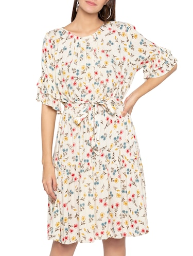 layered sleeve floral belted dress - 15419148 - Standard Image - 1