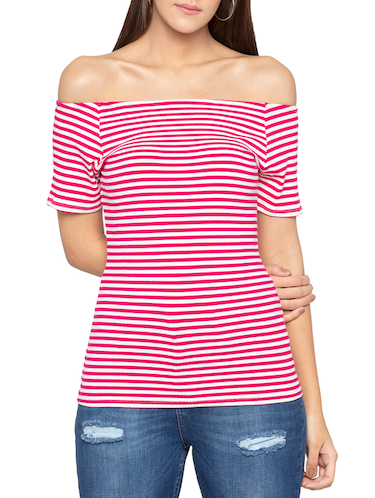 off shoulder striped top - 15419180 - Standard Image - 1