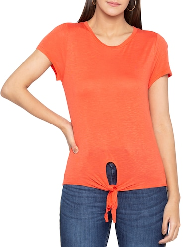 Salamander orange knotted hem top - 15419203 - Standard Image - 1