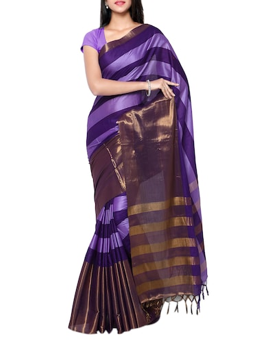 Stripes handloom saree with blouse - 15419215 - Standard Image - 1