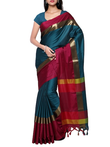 Contrast bordered handloom saree with blouse - 15419231 - Standard Image - 1