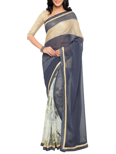 Printed half and half saree with blouse - 15419234 - Standard Image - 1