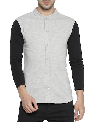 grey cotton casual shirt - 15419455 - Standard Image - 1