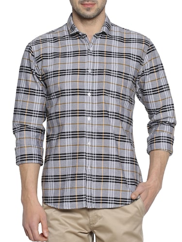 grey cotton casual shirt - 15419467 - Standard Image - 1
