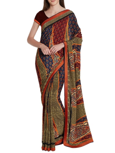 Temple printed saree with blouse - 15419475 - Standard Image - 1