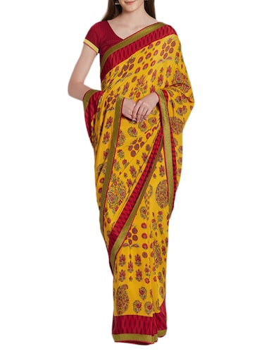 Ditsy floral printed saree with blouse - 15419477 - Standard Image - 1
