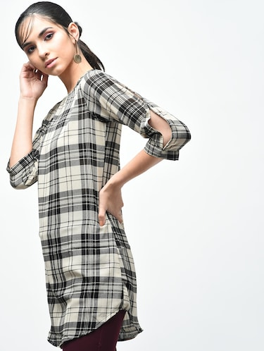 plaid boat neck tunic - 15419513 - Standard Image - 1