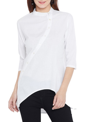 Asymmetrical closure high-low tunic - 15419518 - Standard Image - 1