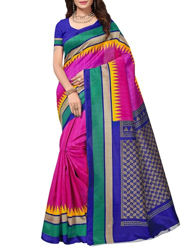 Temple bordered bhagalpuri saree with blouse - 15419898 - Standard Image - 1