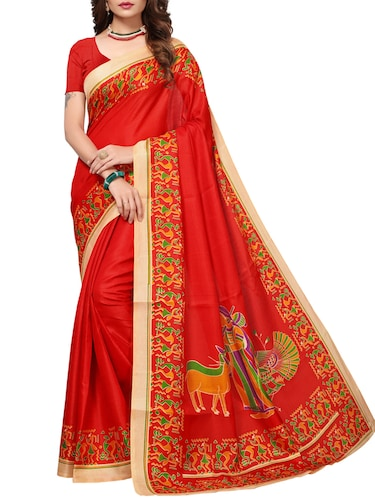 Conversational bordered saree with blouse - 15419930 - Standard Image - 1