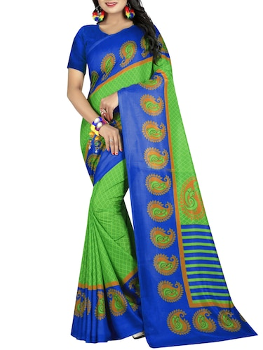 Paisley bordered geometrical saree with blouse - 15419936 - Standard Image - 1