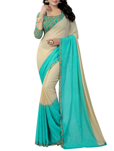 Contrast bordered printed saree with blouse - 15419964 - Standard Image - 1