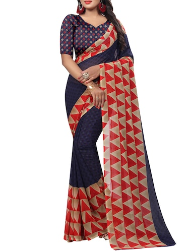 Temple bordered printed saree with blouse - 15419975 - Standard Image - 1