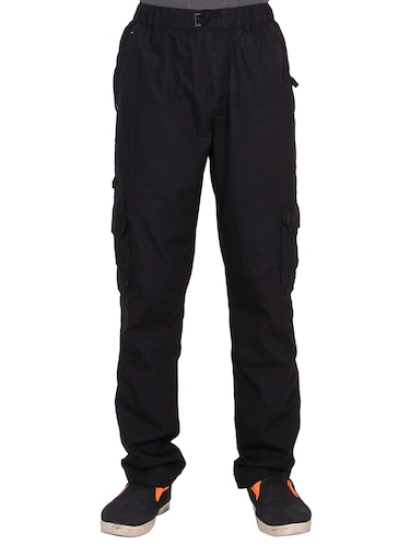 black cotton  full length track pant - 15420196 - Standard Image - 1