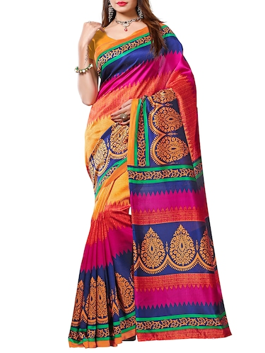 chevron printed bhagalpuri saree with blouse - 15420329 - Standard Image - 1