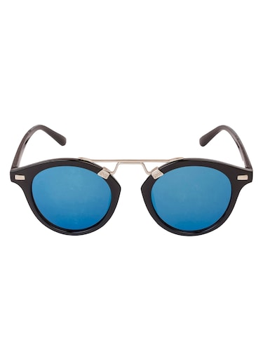 Arzonai Round Black-Blue Mirrored UV Protection Sunglasses [MA-396-S3 ] - 15420483 - Standard Image - 1
