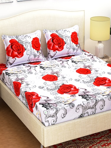 144 TC 3D Double Bedsheet with 2 Pillow Covers - 15420621 - Standard Image - 1