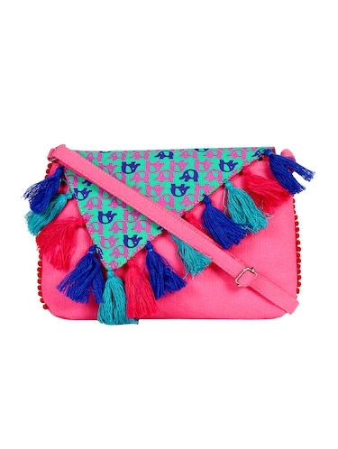 pink canvas regular sling bag - 15420998 - Standard Image - 1
