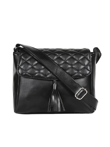 black leatherette (pu) regular sling bag - 15421013 - Standard Image - 1
