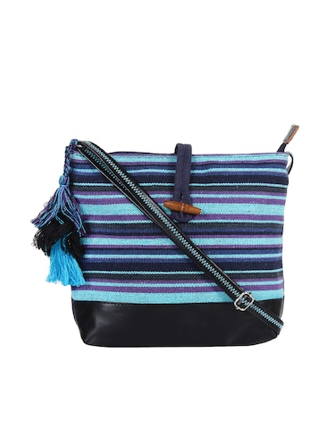 blue canvas regular sling bag - 15421026 - Standard Image - 1