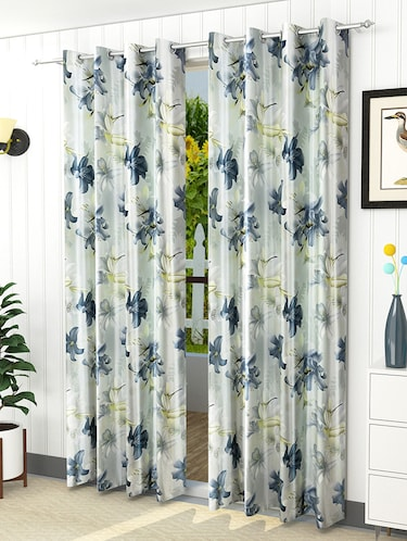 Set of 2 Polyester Eyelet Window Curtains - 5 ft - 15421423 - Standard Image - 1