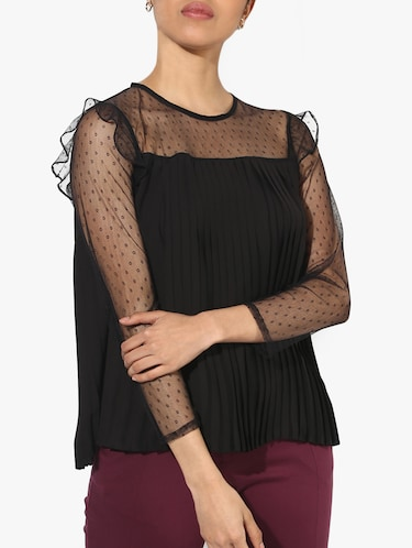 mesh yoke and sleeve pleated top - 15421704 - Standard Image - 1