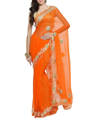 gota patti embellished saree with blouse - 15427175 - Standard Image - 1