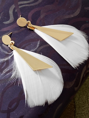white feather drop earrings - 15429242 - Standard Image - 1