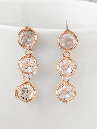 gold metal drop earrings - 15429273 - Standard Image - 1