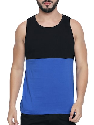 blue cotton color block  t-shirt - 15429687 - Standard Image - 1