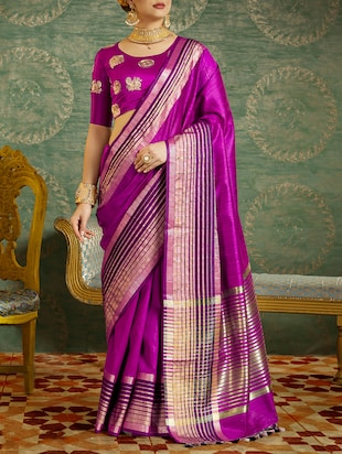 Delicate golden border saree with blouse - 15429733 - Standard Image - 1