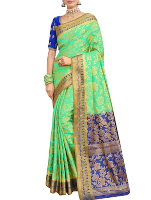 Golden zari woven saree with blouse - 15429897 - Standard Image - 1