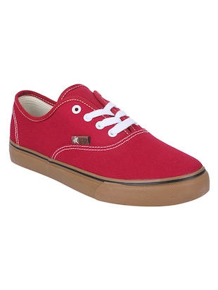 Red Canvas lace up sneakers - 15430034 - Standard Image - 1