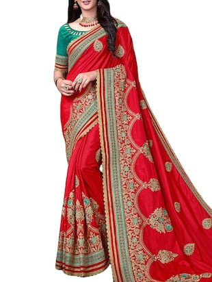 Golden zari embroidered saree with blouse - 15430079 - Standard Image - 1