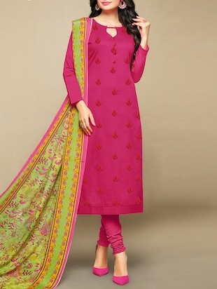 Embroidered unstitched churidaar suit - 15430112 - Standard Image - 1
